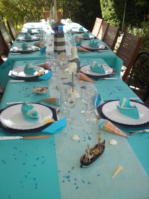 D co vacances la mer d co de table th mes - Pliage serviette theme mer ...