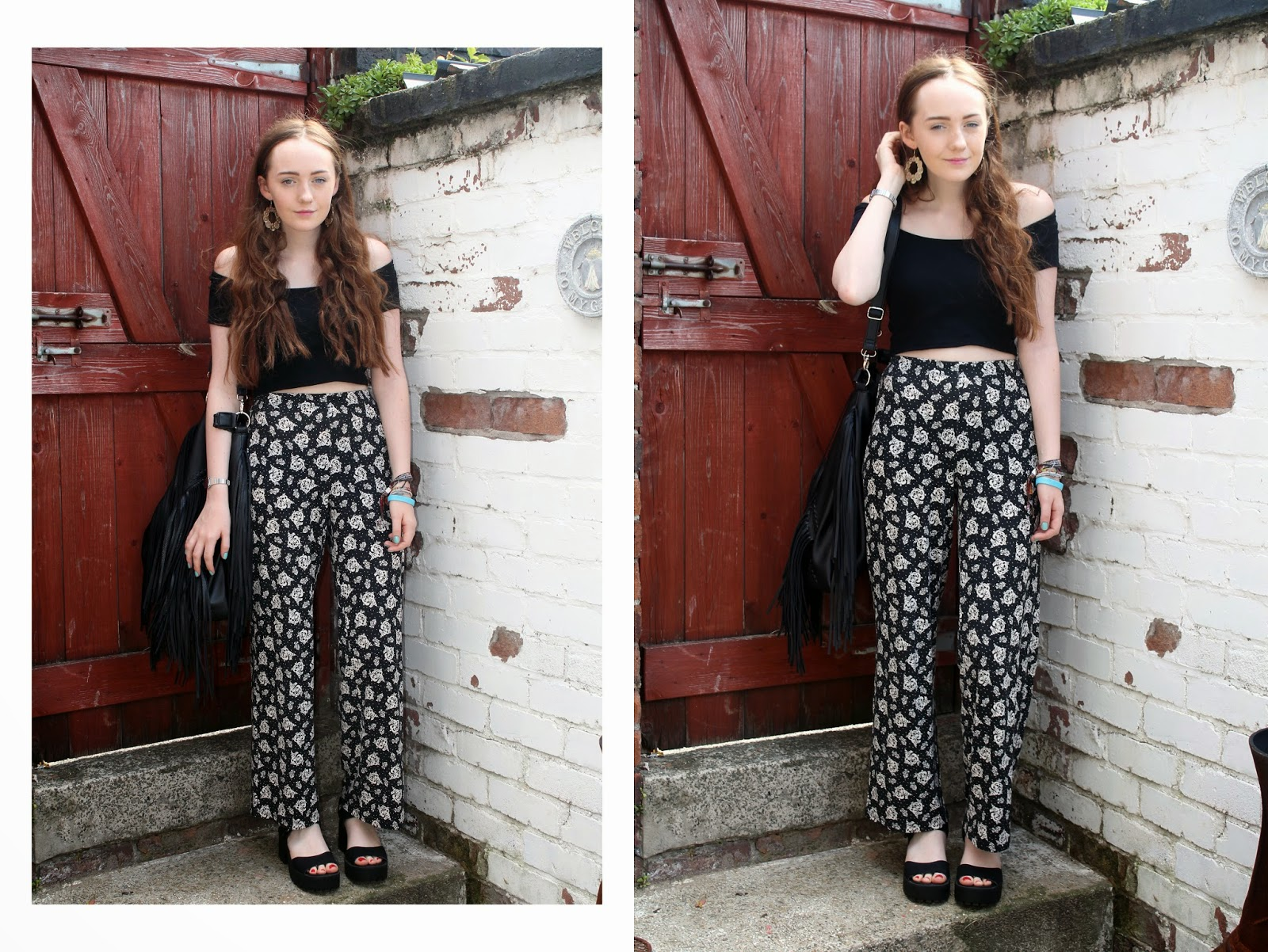 off the shoulder crop top worn with floral bell bottom trousers black sandals and a fringed primark bag
