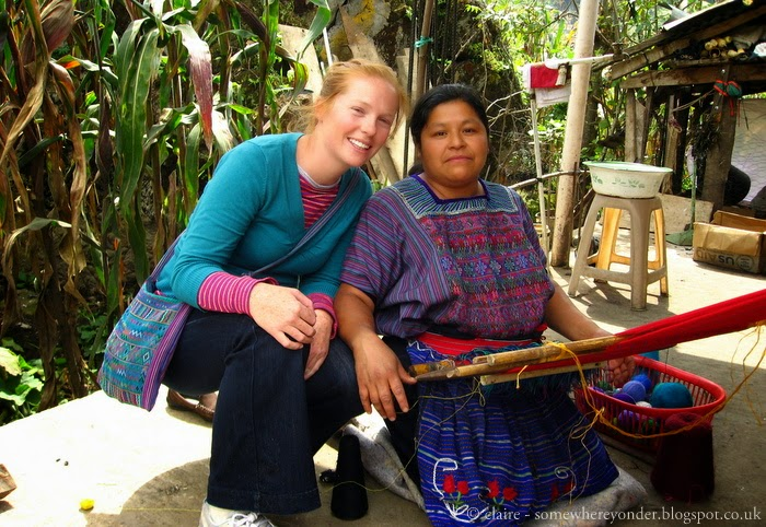 with my host mum learning to weave - Todos Santos, Guatemala