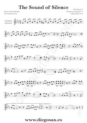 Tubepartitura The Sound of Silence de Simon y Garfunkel partitura de Trompeta y Fliscorno El sonido del silencio música de pop - rock