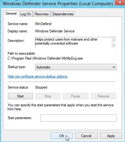 Setting Konfigurasi Windows Defender di Windows 8 step 9