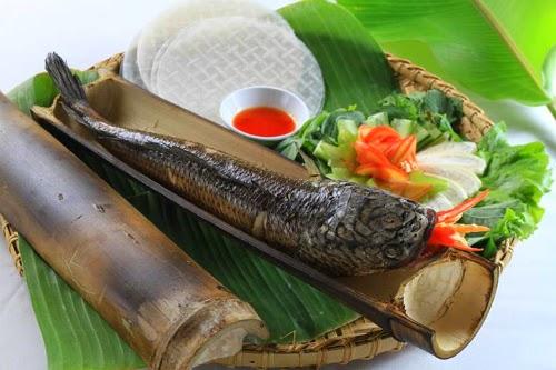 Đặc sản Nha Trang: món cá lóc nướng ống tre.