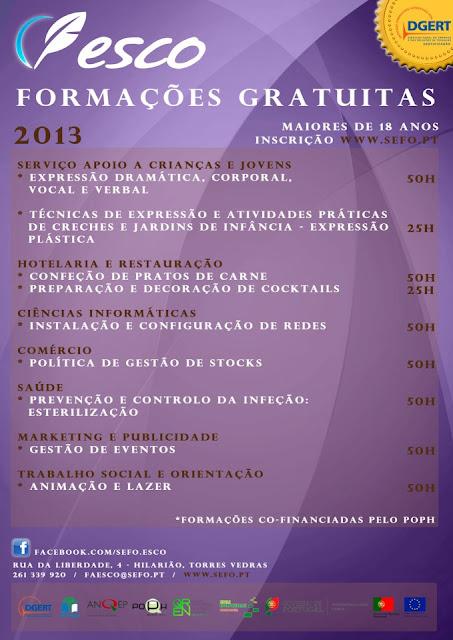 Cursos de formação financiada em Torres Vedras (2013)