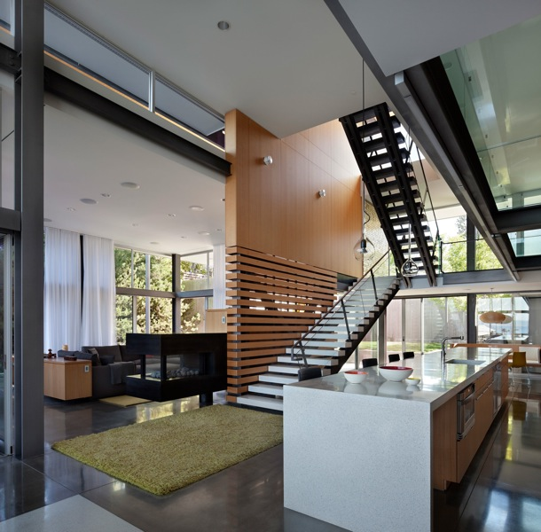 Picture of modern kitchen by the staircase to the upper floor