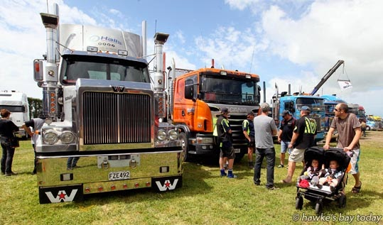 Mitre 10 Mega Ride in a Truck Day, raising funds for Trucking for Hawke's Bay Child Cancer Charitable Trust. Convoys left Hastings and Napier, finishing up at the ENZA/Turners and Growers grounds at Whakatu photograph