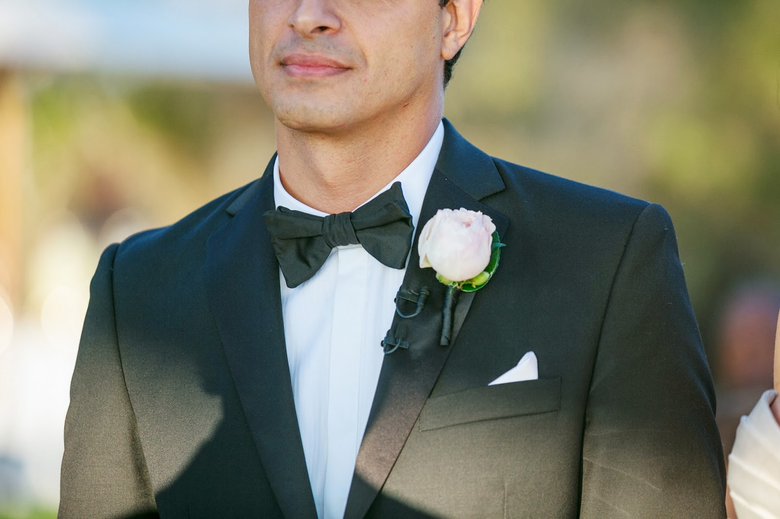 Garden Rose Boutonniere a bacara resort wedding in santa barbara | heavenly blooms