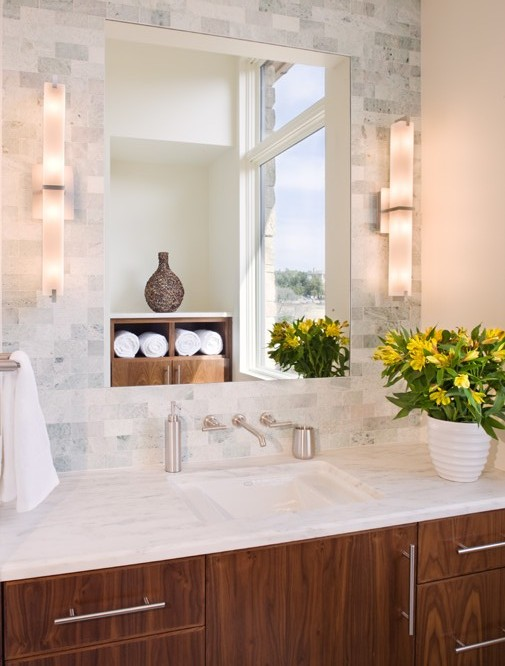 Close up photo of modern marble sink in the bathroom