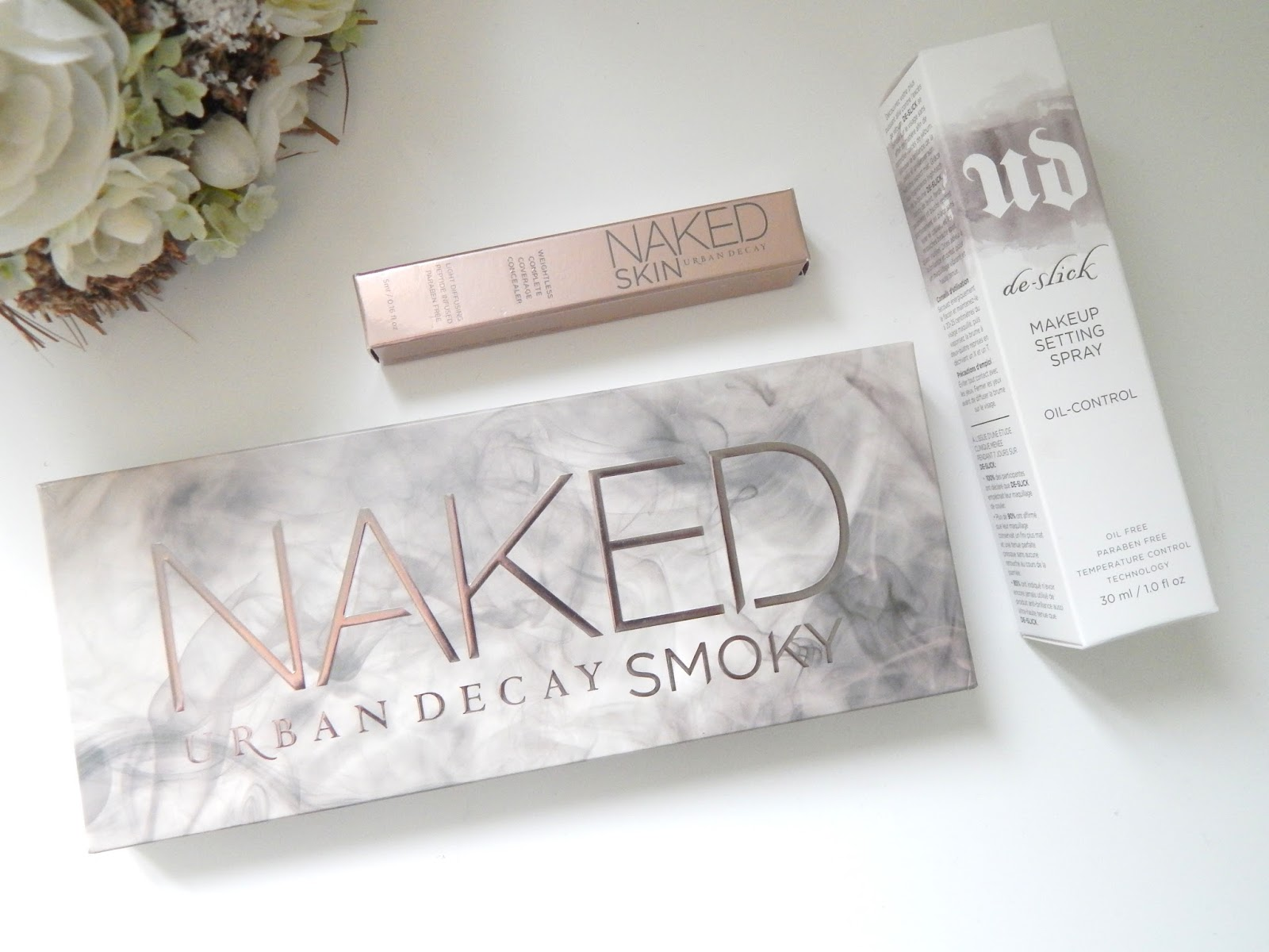 Urban Decay Naked Smoky Palette, Naked Skin Concealer and De-slick Setting Spray