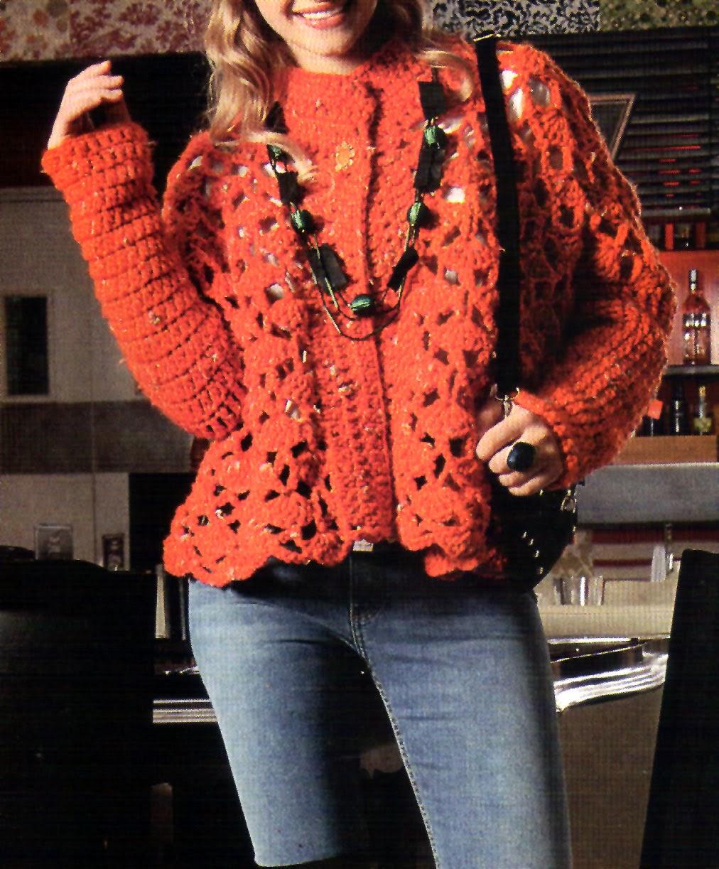 Tejidos artesanales en crochet saco calado en color naranja - Como hacer color naranja ...