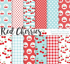 Digital Paper Red Cherries