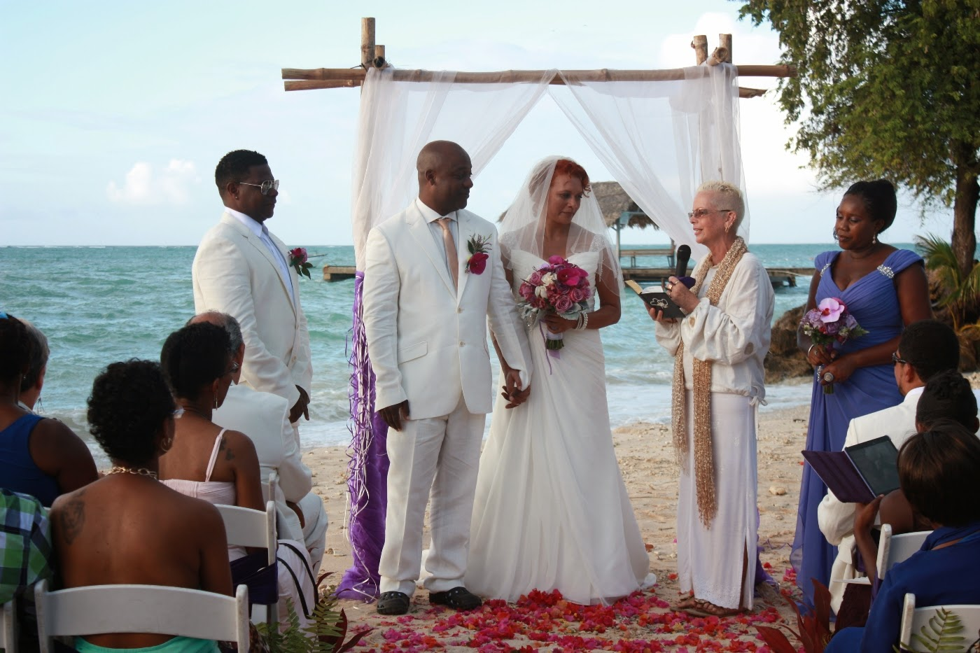 Beach Wedding at Pigeon point Tobago for UK couple Alan & Sue