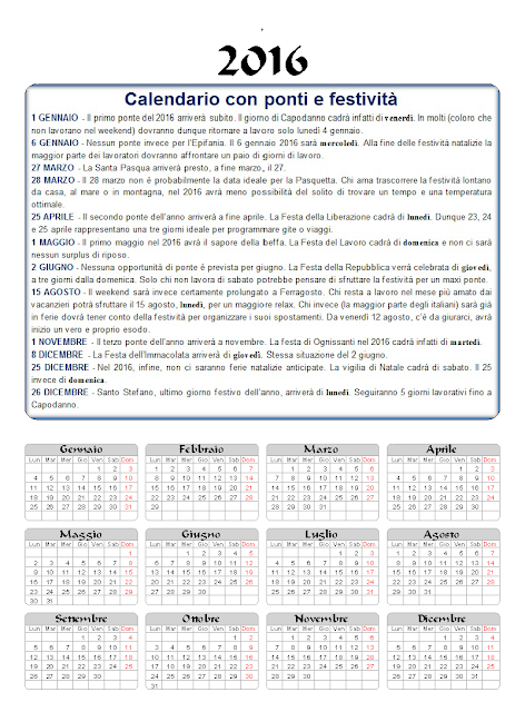 Calendario 2016 con ponti e festività