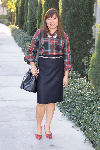 J Crew stewart plaid, J Crew plaid heels with obi bow