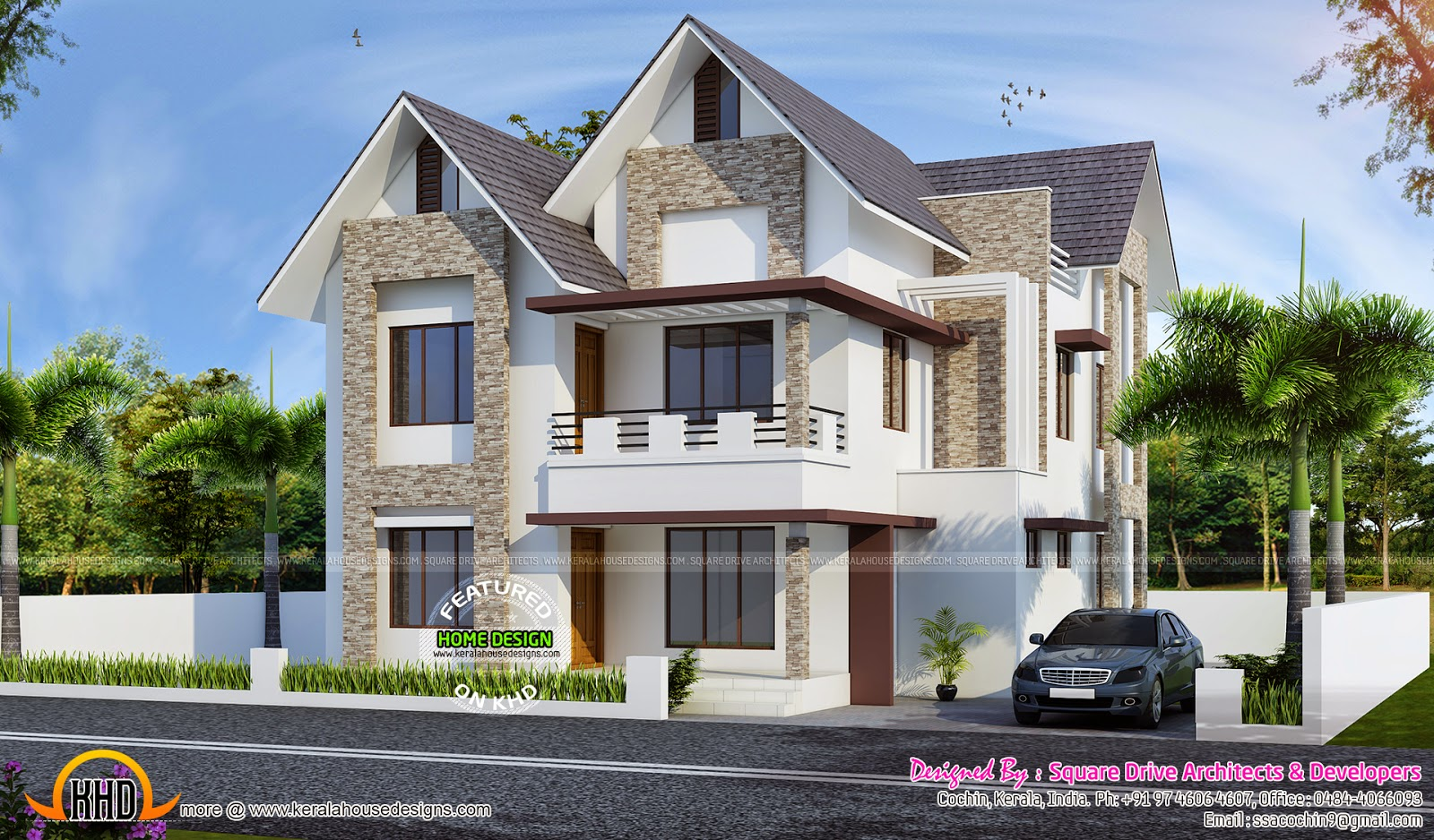 European Style Sloping Roof House Kerala Home Design And