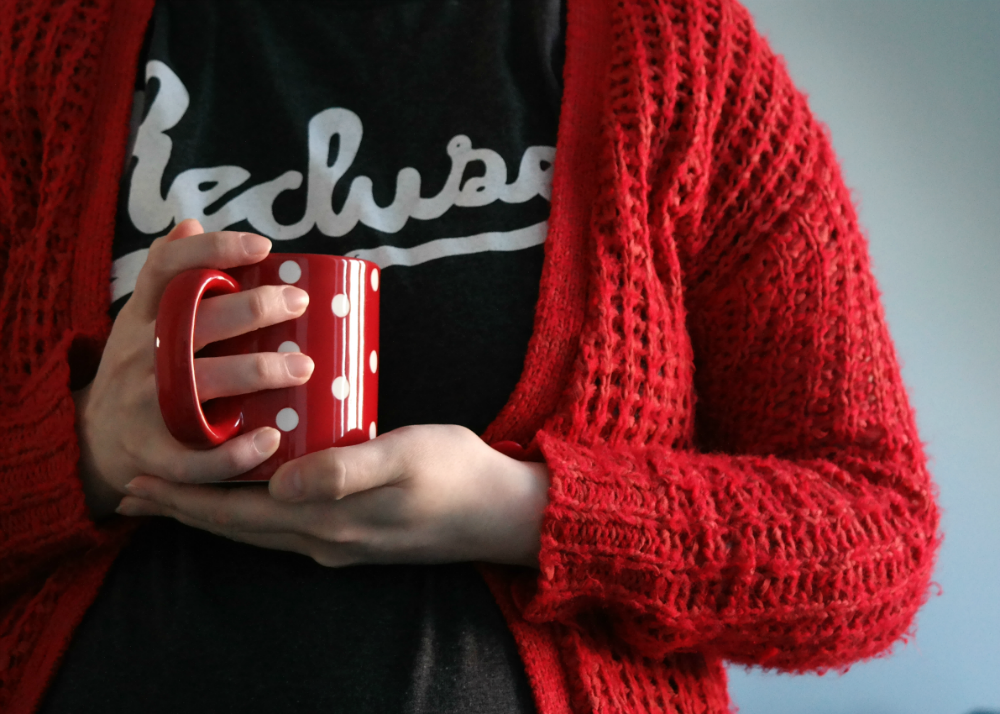 Stay Home Club recluse T-shirt and red spotty mug