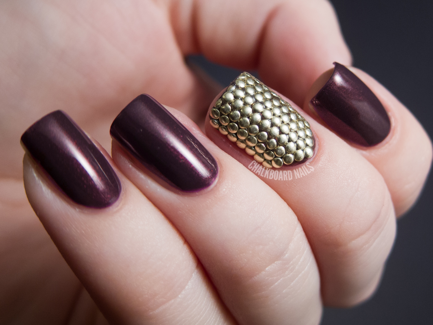 Stud armor accent nail chalkboard nails nail art blog the base color contrary polish desert fruit was rather difficult to photograph it came out of my camera looking pure brown which is strange as it is a prinsesfo Images