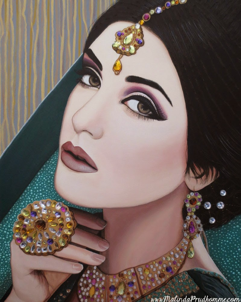viridian indian beauty, indian, indian woman, indian beauty, portrait, portrait artist, portrait painting, malinda prudhomme, gems, jewels, real gems on art, original artwork