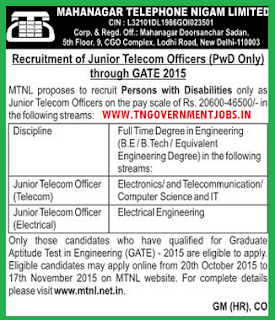 Applications are invited for Junior Telecom Officer (PwD) in MTNL