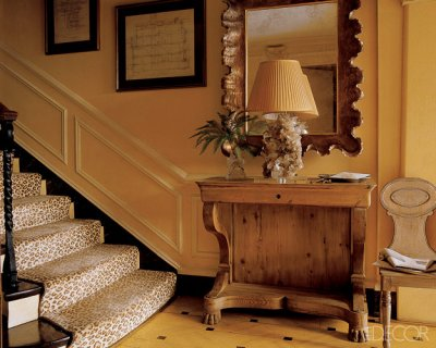Love the softly hued leopard runner on the stairs… works so well