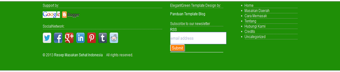 Membuat Footer Blog ala ElegantGreen Template