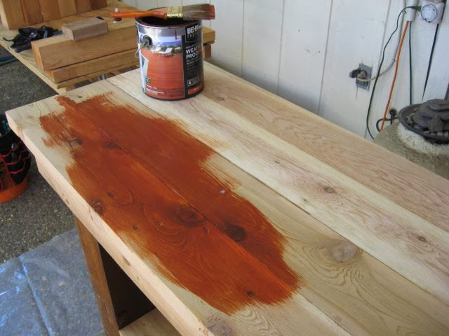 Staining rough cedar