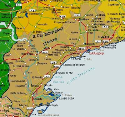 Tarragona Mapa Ciudad de la Región