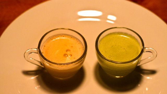 Latte de Rooibos e Latte de Chá Verde. Foto: Yuri Hayashi