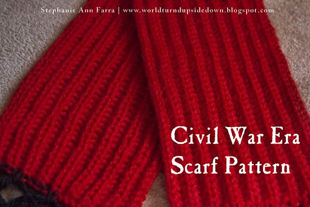 Civil War Scarf Pattern- Easy- World Turn'd Upside Down