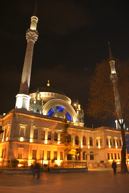 Dolmabahce Palace Mosque by night