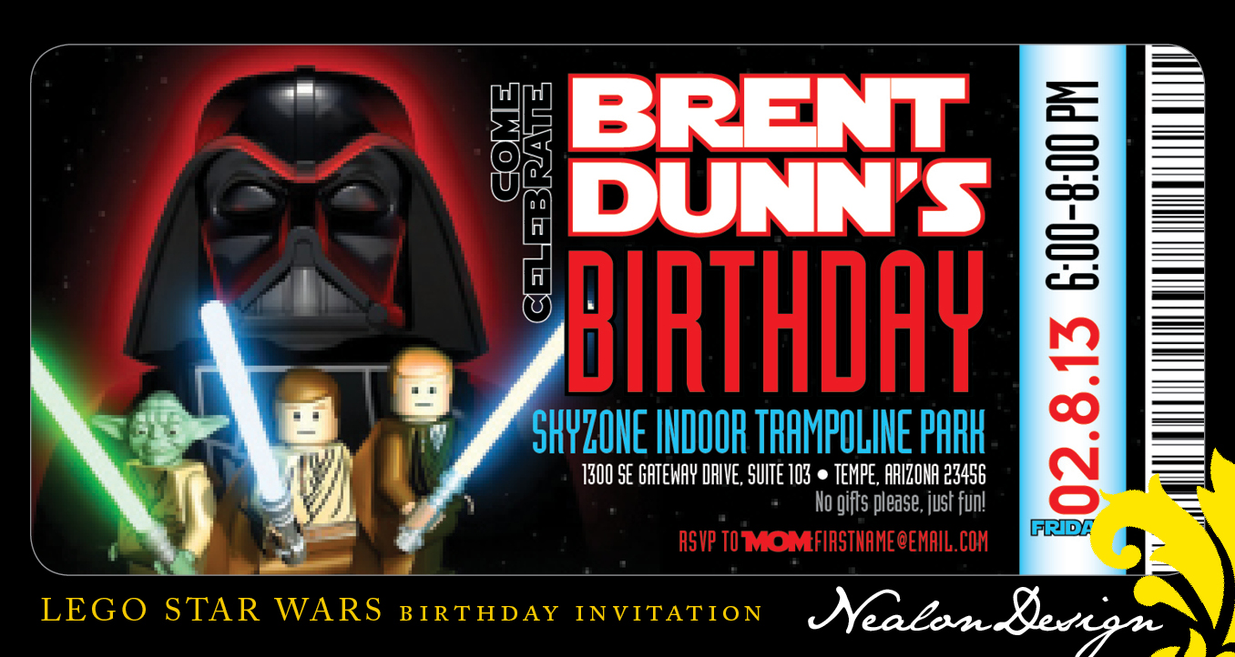 Nealon Design LEGO STAR WARS Birthday Invitation Ticket – Lego Star Wars Birthday Cards