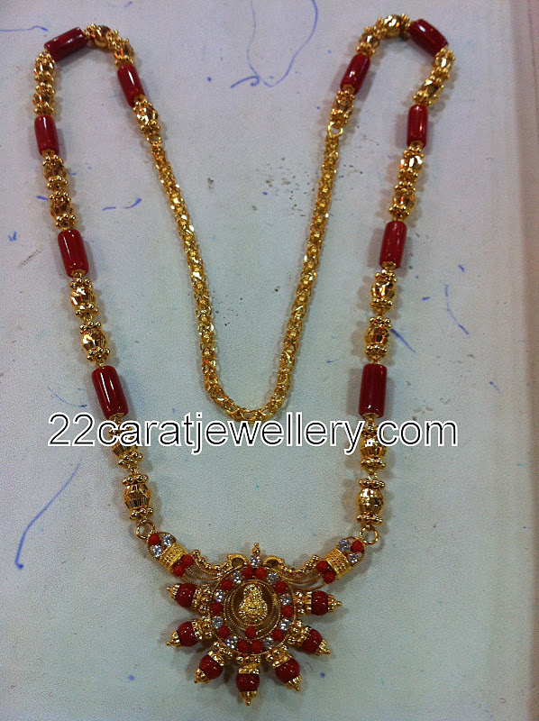 Corals Long Chain Jewellery Designs