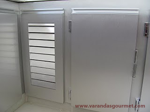 Balcão refrigerado 1 porta em fórmica Steel Silver