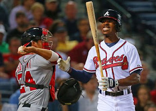 B.J. Upton, Atlanta Braves, center fielder, bat, strikeout, slump, frustration