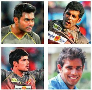 Sunrisers Hyderabad Players Ashish Reddy, Thisara Perera, Hanuma Vihari and Karan Sharma