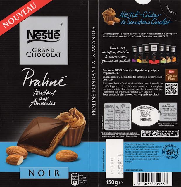 tablette de chocolat noir gourmand nestlé grand chocolat noir praliné fondant aux amandes