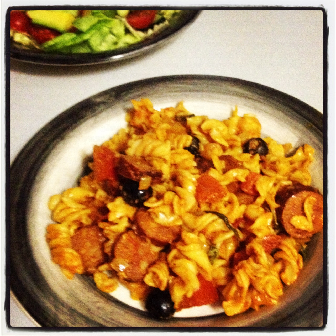 Rosemarys recipes spicy chorizo and olive pasta i started off by putting some pasta screws on to boil in salted water in a separate large wok i heated some olive oil and added chopped onion forumfinder Images