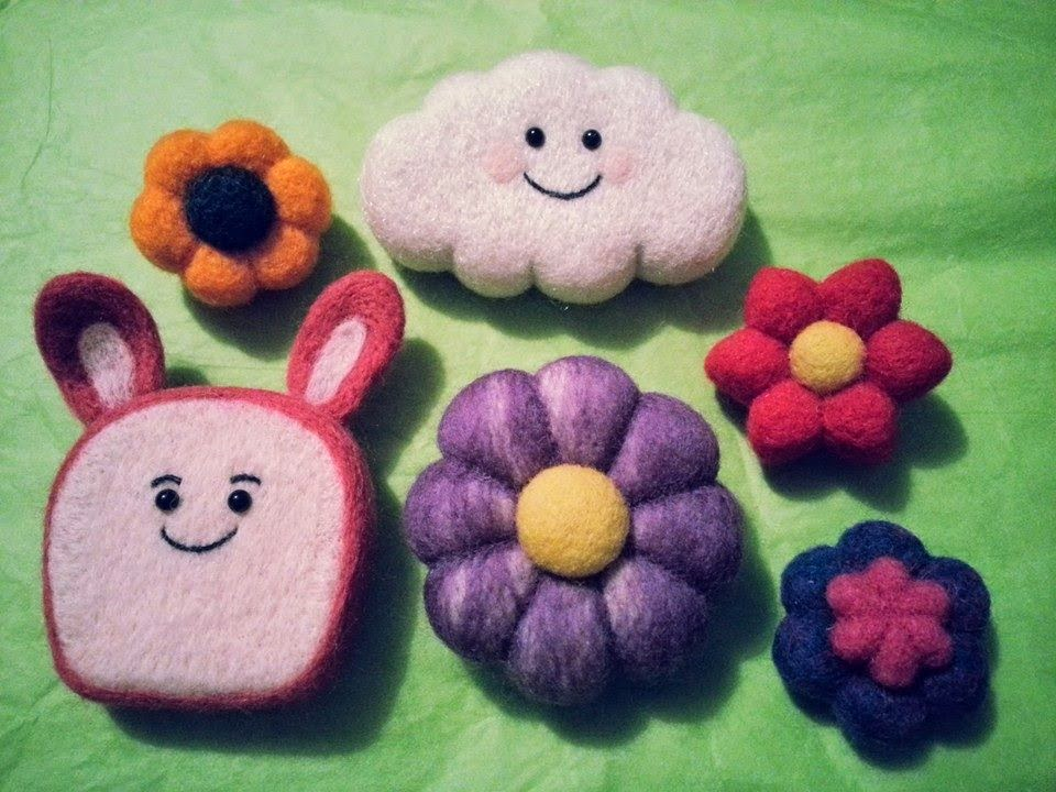 Jojos Crafty Love Needle Felted Flowers Kawaii Cloud And Bunny