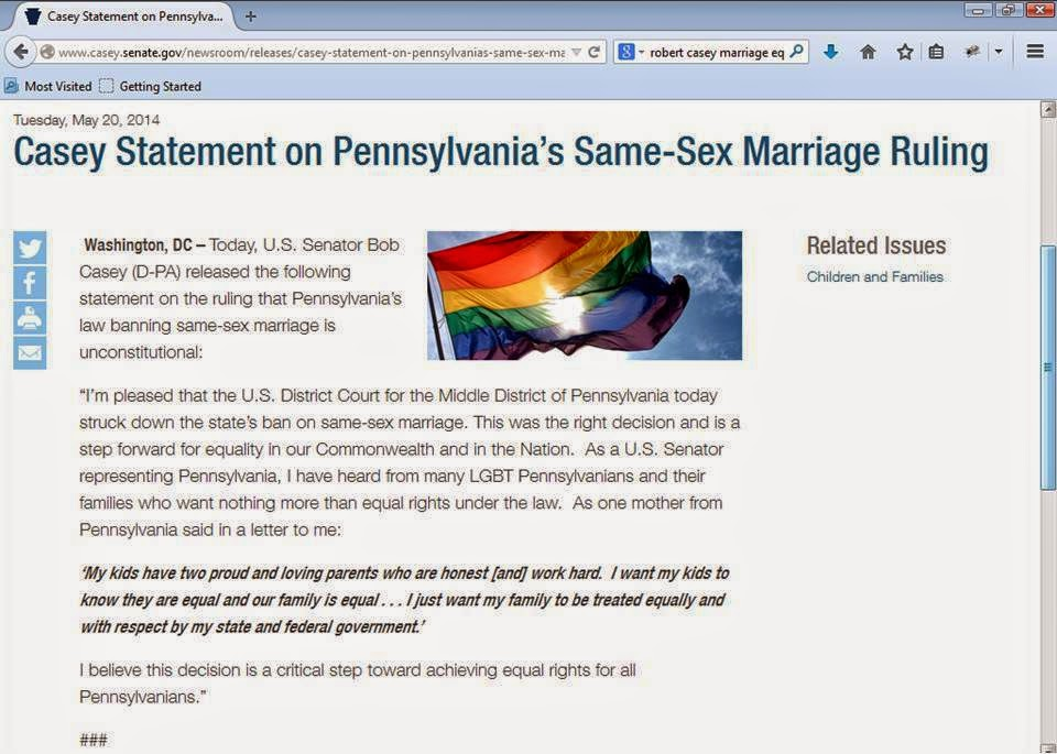 http://www.casey.senate.gov/newsroom/releases/casey-statement-on-pennsylvanias-same-sex-marriage-ruling