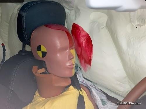 Fiat 500L driver dummy's head