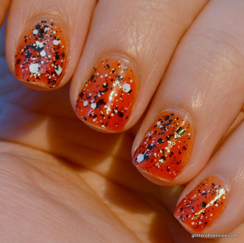 Black Nail Polish With Orange Glitter