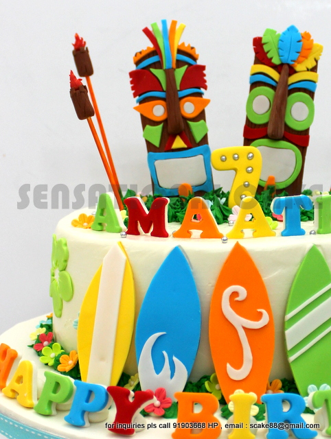 Tiki Mask Birthday Cake