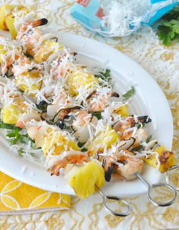 Grilled Pineapple Coconut Shrimp Kebabs