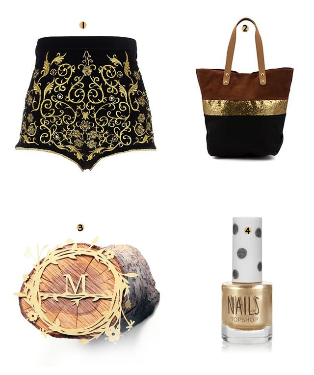 river island gold velvet shorts, steve madden glitter and tan tote, mr yen floral papercut, topshop nail varnish