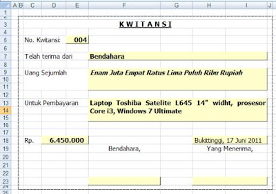 Download Template Kwitansi Excel