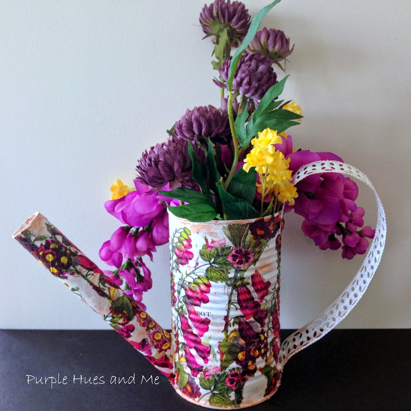 Recycle Veggie Can Into A Watering Can FlowerPot [Purple Hues and Me]