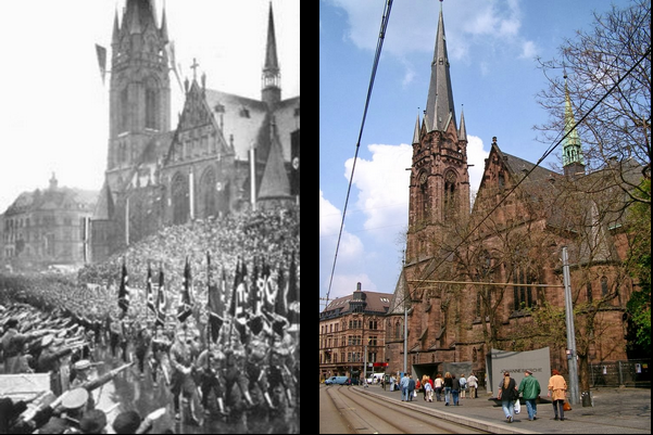 Nazis marching past the Johanneskirche