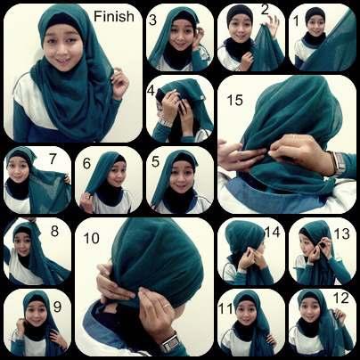 Ada lagi Tutorial hijab paris Dian Pelangi dan segi empat plus gambar ...