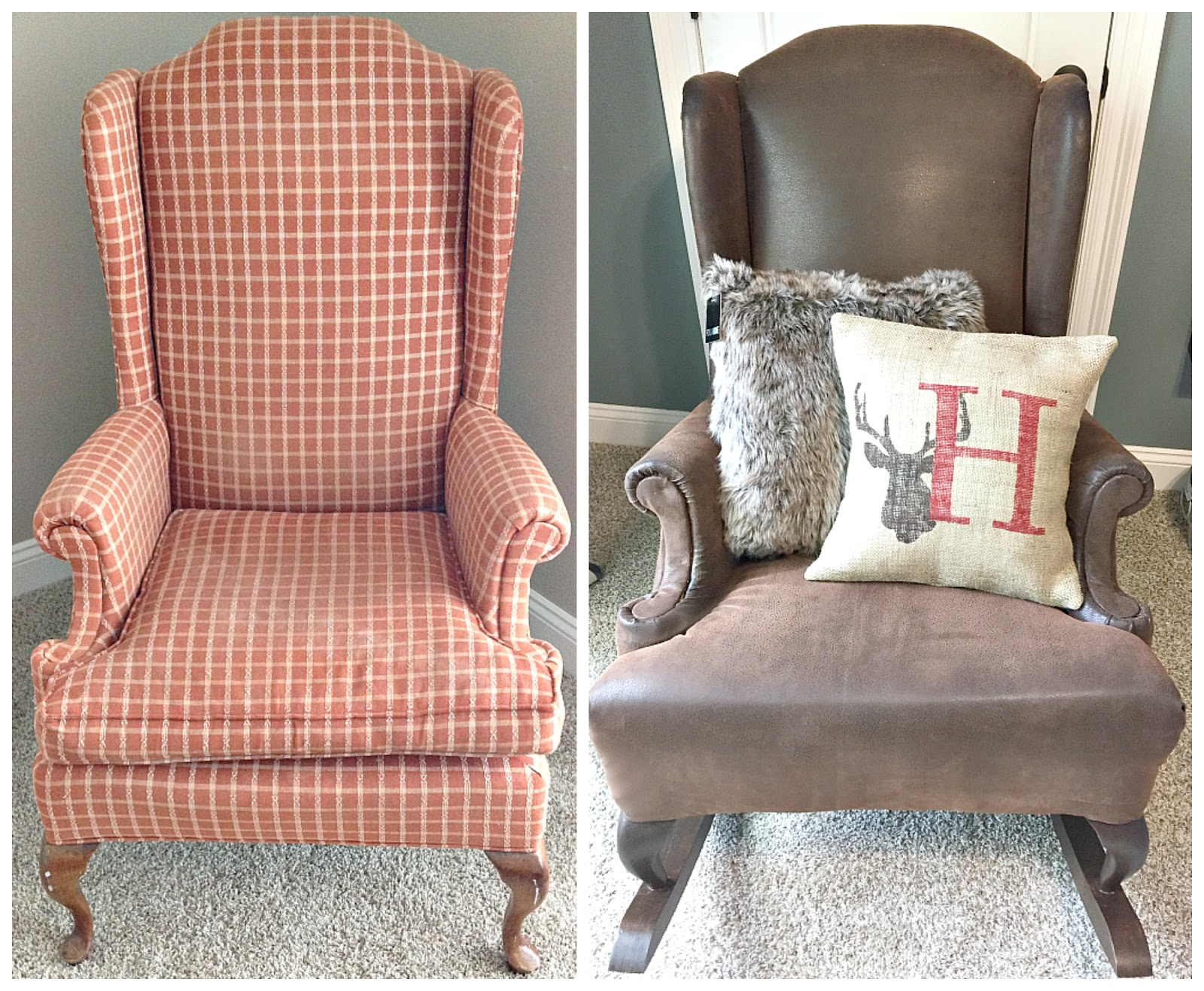 Fawn Over Baby DIY Rustic Reupholstered Wing Back Rocker