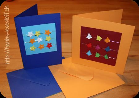 Favolas lesestoff favola bastelt weihnachtskarten for Weihnachtskarten mit kindern basteln