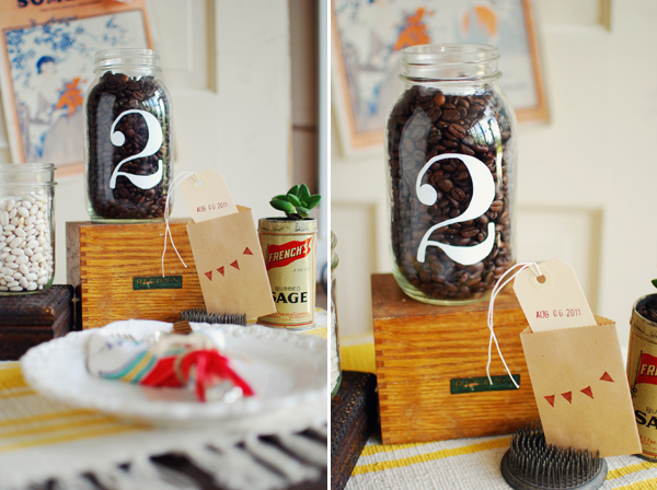 Mason Jar Wedding Ideas - Table Numbers Painted Mason Jar with Coffee Beans